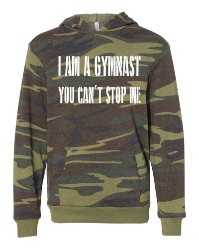 I Am A Gymnast You Can't Stop Me Youth Camo Hoodie