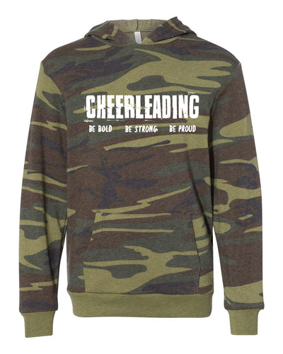 Cheerleading Be Bold Be Strong Be Proud Youth Camo Hoodie