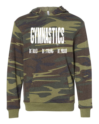 Gymnastics Be Bold Be Strong Be Proud Youth Camo Hoodie