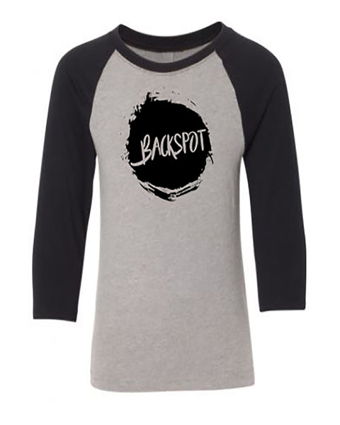 Cheer T-Shirt Raglan Youth Backspot Black Heather Gray