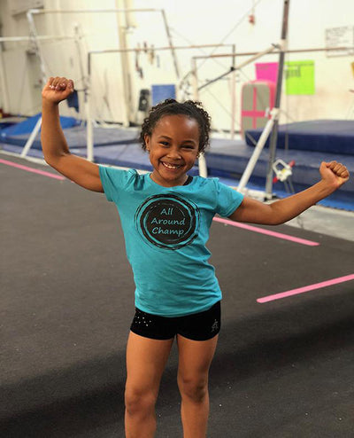 Gymnastics T-Shirt Girls All Around Champ Ocean Blue