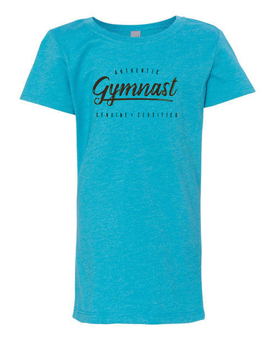 Gymnastics T-Shirt Girls Authentic Gymnast Ocean Blue