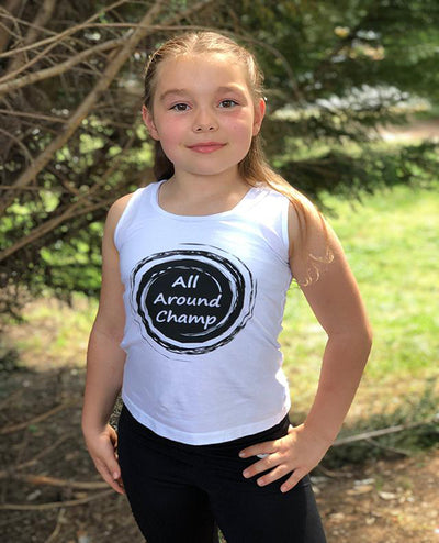 Gymnastics Tank Top Girls All Around Champ White