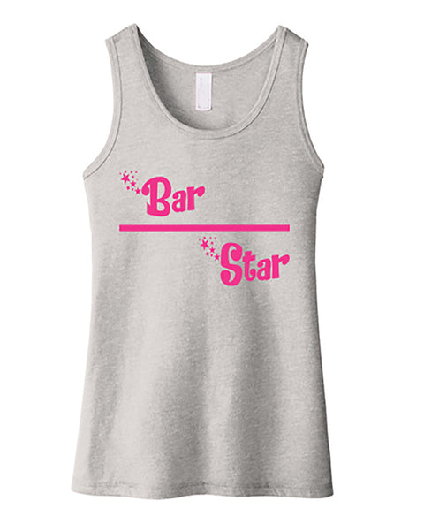 Gymnastics Tank Top Girls Bar Star Heather Gray