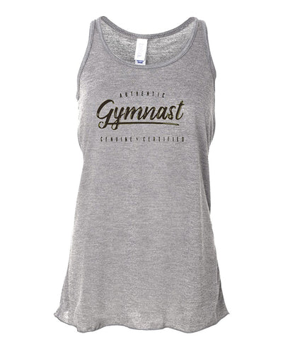 Gymnastics Tank Top Racerback Girls Authentic Gymnast Heather Gray