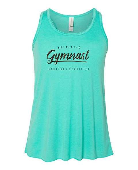 Gymnastics Tank Top Racerback Girls Authentic Gymnast Teal