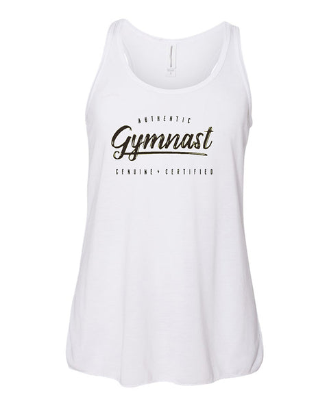 Gymnastics Tank Top Racerback Girls Authentic Gymnast White