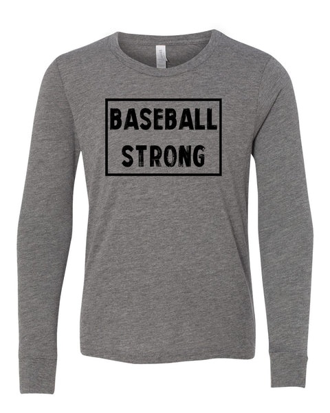 Heather Gray Baseball Strong Kids Long Sleeve Baseball T-Shirt