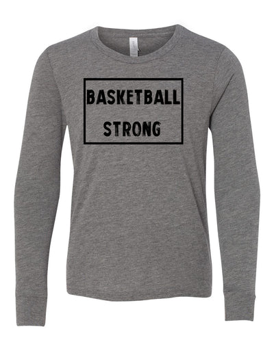 Heather Gray Basketball Strong Kids Long Sleeve Basketball T-Shirt