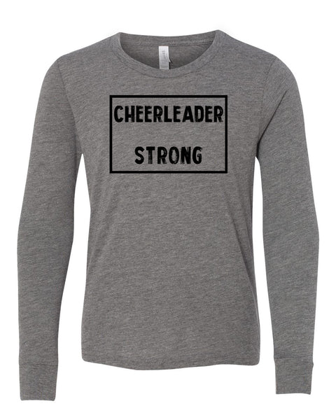 Heather Gray Cheerleader Strong Kids Long Sleeve Cheer T-Shirt