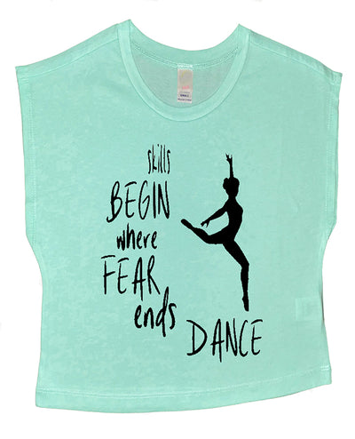 Skills Begin Where Fear Ends Dance Boxy Crop Top