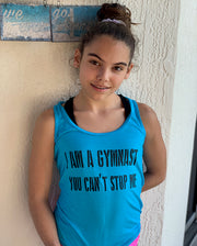 I Am A Gymnast You Can't Stop Me Ladies Racerback Tank Top