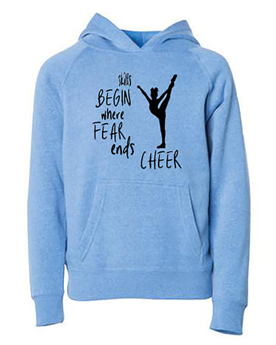 Skills Begin Where Fear Ends Cheer Youth Hoodie