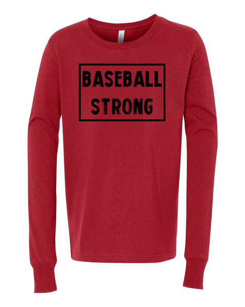 Red Baseball Strong Kids Long Sleeve Baseball T-Shirt