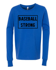 Royal Blue Baseball Strong Kids Long Sleeve Baseball T-Shirt