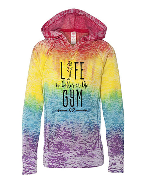 Life Is Better At The Gym Girls Tie Dye Hoodie