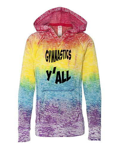 Gymnastics Y'all Girls Tie Dye Hoodie