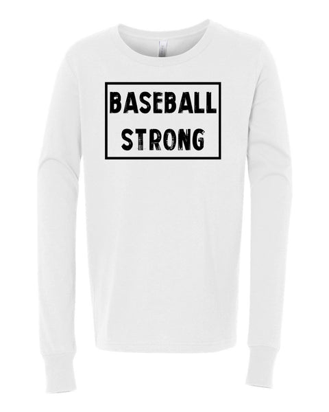 White Baseball Strong Kids Long Sleeve Baseball T-Shirt
