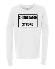White Cheerleader Strong Kids Long Sleeve Cheer T-Shirt