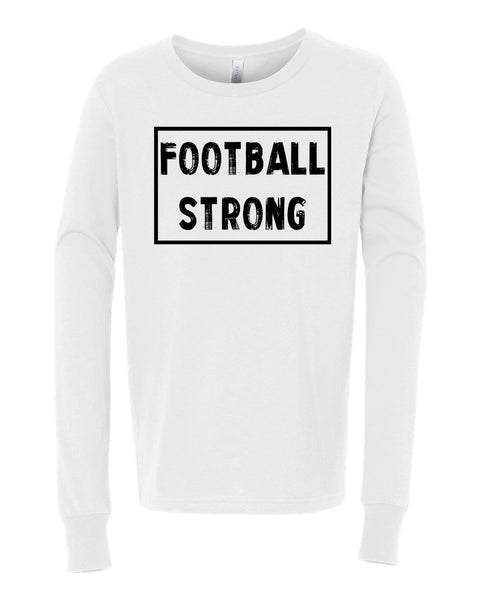 White Football Strong Kids Long Sleeve Football T-Shirt