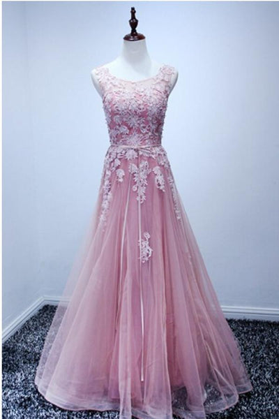 A-line Scoop Floor-length Pink Tulle Open Back Prom Dress With Appliques-NBAdresses