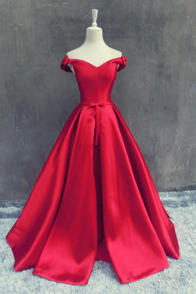 Stunning Off The Shoulder Sweep Train Red A-line Prom Dress With Bowknot-NBAdresses