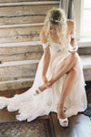 Elegant Off-shoulder Beading Sash Long Chiffon Wedding Dress-NBAdresses