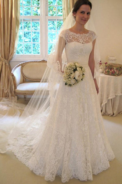 Scoop Neck Short Sleeve A-Line Lace Wedding Dress-NBAdress