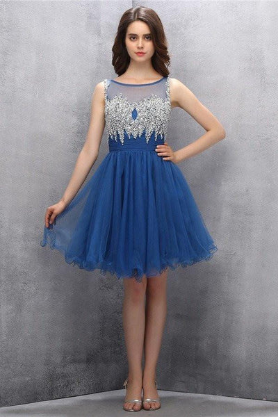 A line Blue Tulle Homecoming Dresses With Beading-NBAdresses