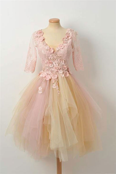 Champagne Lace Tulle Prom Dress, Cute Homecoming Dress-NBAdresses