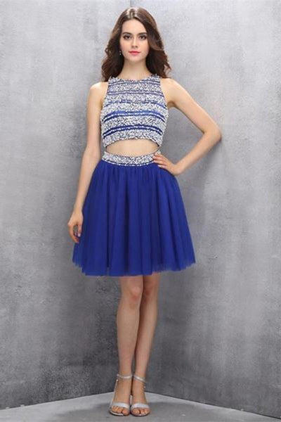 Two Piece Tulle Royal Blue Homecoming Dresses Prom Dresses-NBAdresses