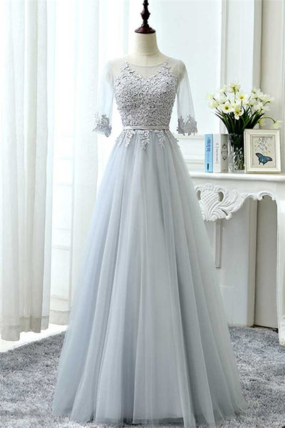 Gray Tulle Lace Long Prom Dress, Tulle Lace Bridesmaid Dress-NBAdresses