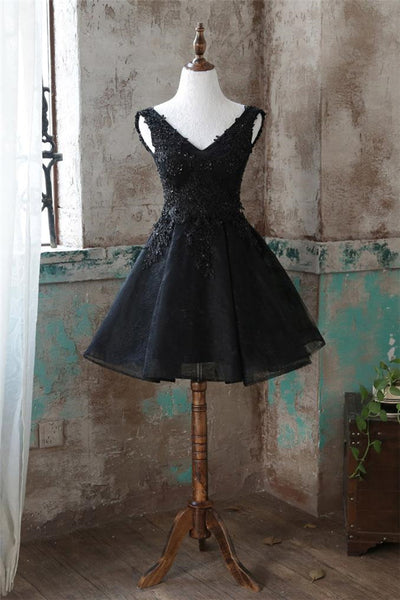 Black V Neck Tulle Lace Short Prom Dress Black Homecoming Dress-NBADRESSES