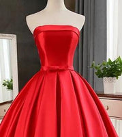 Elegant Strapless Sweep Train Ball Gown Red Pleats Prom Dress With Bow-NBAdresses