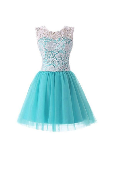 Short Lace Tulle Prom Dresses Homecoming Dresses Party Dresses -NBAdress