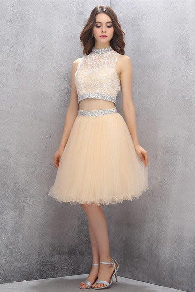 Two Piece High Neck Tulle Homecoming Dresses with Beading-NBAdresses