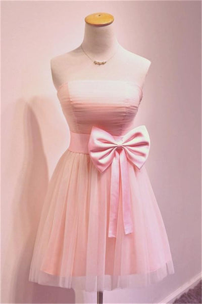 Girly Simple Short Pink Strapless Homecoming Dresses-NBAdress
