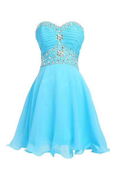 A-line Knee Length Chiffon Blue Homecoming Dress With Crystals-NBAdress