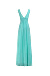 V-Neck Ruched Waist Long Prom Evening Gown Bridesmaid Dress-NBAdress