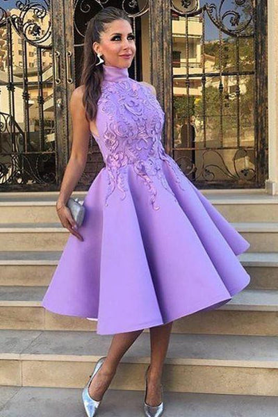 High Neck Tea-Length Purple Satin Homecoming Dress With Appliques -NBAdress