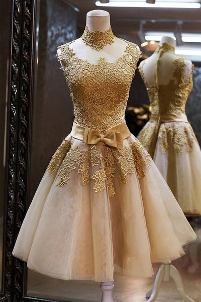 High Quality Vintage High Neck Bowknot Lace Homecoming Dresses-NBAdresses