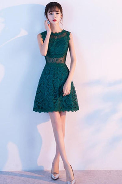 A-Line Sleeveless Lace Flower Homecoming Dress With Appliques-NBAdress