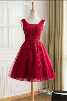 Burgundy Lace Tulle Short Prom Dress, Burgundy Homecoming Dress-NBAdresses