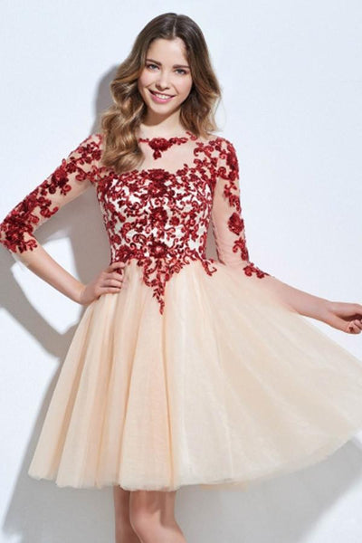 Scoop 3/4 Length Sleeves Appliques Sequins Knee-Length Short Prom Dress -NBAdress