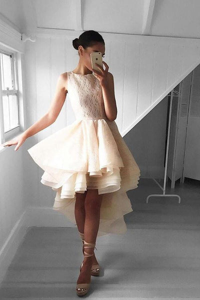 Fashion High Low Peach Lace Homecoming Dress Short Prom Dresses-NBAdress