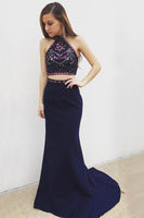 Two Piece Mermaid Halter Long Navy Blue Prom Dress With Beading-NBAdresses