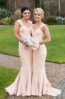 Mermaid Straps Sweep Train Ruched Light Pink Stretch Satin Bridesmaid Dress-NBAdresses