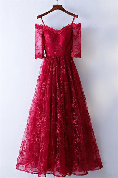 Pretty Burgundy Lace Long Prom Dress, Burgundy Lace Evening Dress-NBAdresses