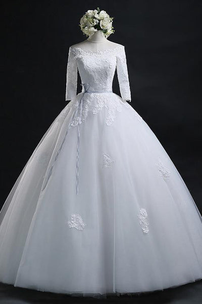 Elegant Ball Gown Bateau Long Tulle Wedding Dress With Lace-NBAdress