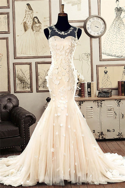 White Round Neck Tulle Mermaid Long Wedding Dress, Bridal Gown-NBAdresses